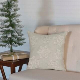 Grey Farmhouse Holiday Decor VHC Ingrid 16x16 Pillow Cotton Nature Print Appliqued Tobacco Cloth