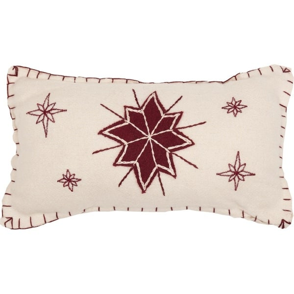 White Farmhouse Holiday Decor VHC North Star 7x13 Pillow Felt Star Appliqued