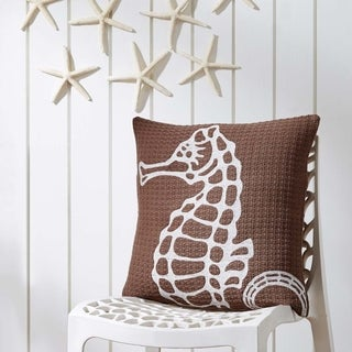 "Embroidered Seahorse 18"" x 18"" Pillow"