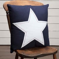 """Navy and White Star Applique 18"""" x 18"""" Pillow"""