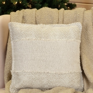 White Glam Holiday Decor VHC Neve 16x16 Pillow Acrylic Solid Color Appliqued Textured (Pillow Cover, Pillow Insert)
