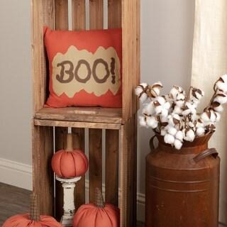 Orange Primitive Holiday Decor VHC Boo 12x12 Pillow Cotton Text Appliqued Duck Cloth