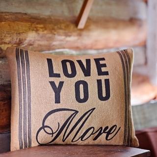 Tan Farmhouse Decor VHC Love You More 14x18 Pillow Cotton Text Stenciled Cotton Burlap (Pillow Cover, Pillow Insert)
