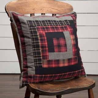 Red Rustic Bedding VHC Cumberland 18x18 Pillow Cotton Patchwork Chambray (Pillow Cover, Pillow Insert)