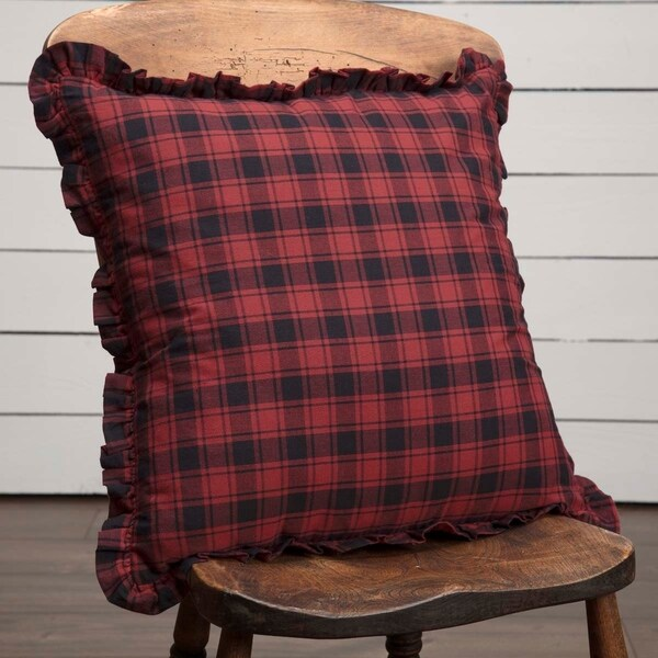 Red Rustic Bedding VHC Cumberland Plaid 18x18 Pillow Cotton Buffalo Check (Pillow Cover, Pillow Insert)