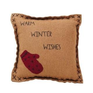 """Warm Wishes Mitten & Warm Winter Wishes 10"""" x 10"""" Felt Pillow"""