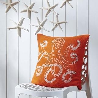 Orange Coastal Decor VHC Octopus 18x18 Pillow Cotton Nautical Stenciled Textured (Pillow Cover, Pillow Insert)