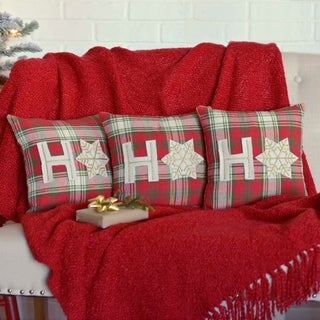 "HO HO Holiday 12"" x 12"" Pillow Set of 3"