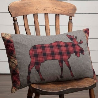Grey Rustic Bedding VHC Cumberland Moose 14x22 Pillow Cotton Nature Print Appliqued Chambray