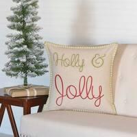 "Holly & Jolly 18"" x 18"" Pillow"