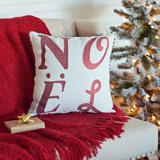 White Farmhouse Holiday Decor VHC Vintage Stripe Noel 16x16 Pillow Cotton Text Embroidered Bells