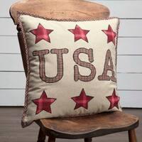 "Liberty Stars Applique USA 18"" x 18"" Pillow"
