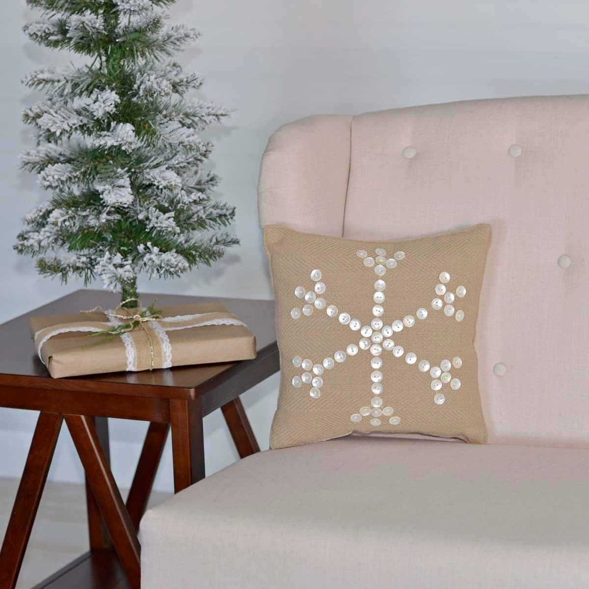 "VHC Brands Pearlescent 12"" x 12"" Pillow, Tan, Size 12 x 1..."