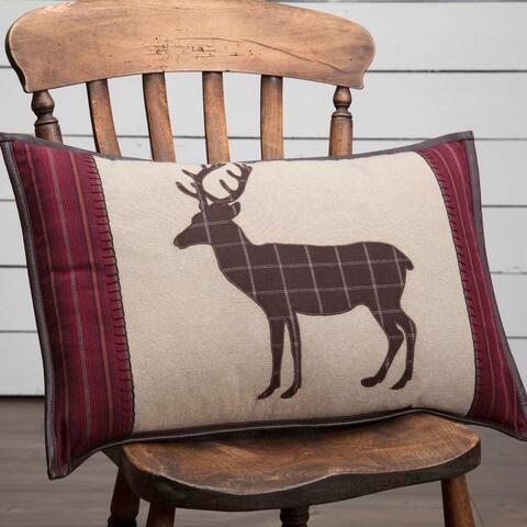 Tan Rustic Bedding VHC Wyatt Deer 14x22 Pillow Cotton Nature Print Appliqued Chambray (Pillow Cover, Pillow Insert)