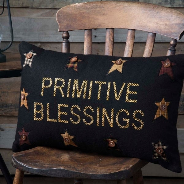 Black Primitive Bedding VHC Heritage Farms Blessings 14x22 Pillow Felt Star Appliqued Buttons