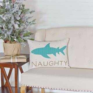 Blue Coastal Christmas Holiday Decor VHC Nerine Shark 14x18 Pillow Cotton Nautical Appliqued Rope Seersucker