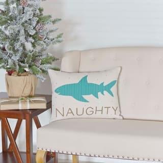Blue Coastal Christmas Holiday Decor VHC Nerine Shark 14x18 Pillow Cotton Nautical Appliqued Rope Seersucker