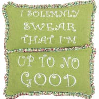 Green Farmhouse Holiday Decor VHC Whimsical Christmas Up To No Good 7x13 Pillow Set of 2 Cotton Text Embroidered