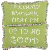 "Whimsical Christmas Up To No Good 7"" x 13"" Pillow Set"