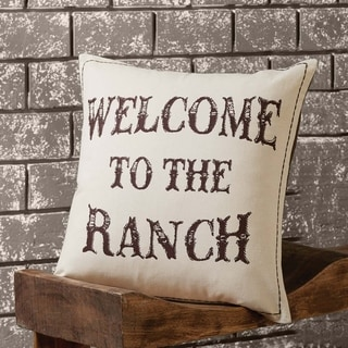 Tan Rustic Decor VHC Welcome to the Ranch Pillow Cover Cotton Graphic-Print Stenciled Casement