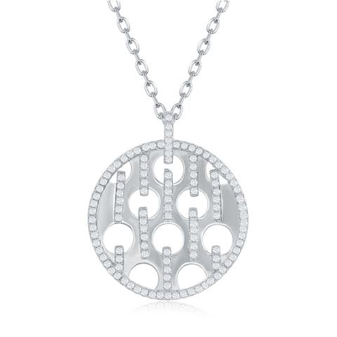 La Preciosa Sterling Silver or Rose Gold Shiny Disc W/ Circle Cut-outs & Cubic Zirconia Bars 16+2'' Necklace