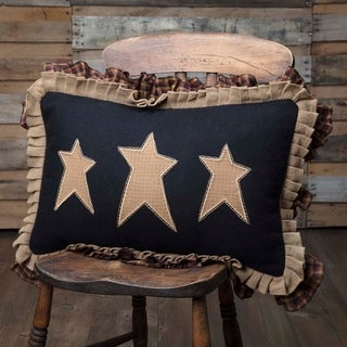 Black Primitive Bedding VHC Heritage Farms Stars 14x22 Pillow Cotton Star Appliqued Cotton Burlap