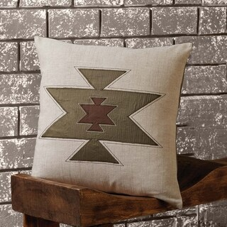 Tan Southwestern Decor VHC Roswell Pillow Cover Cotton Appliqued Textured