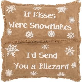 Snowflake Burlap Natural Pillow If Kisses..Snowflakes Set of 2 7x13