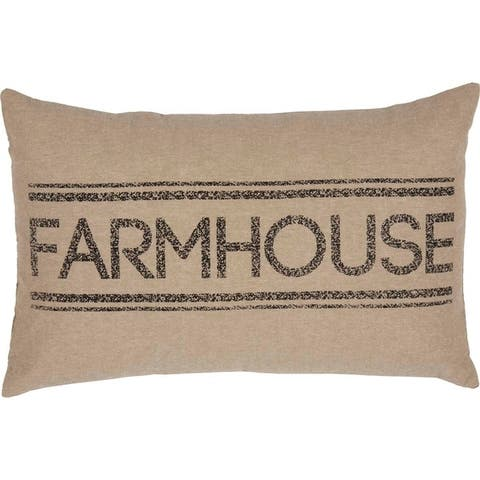 Farmhouse Bedding Miller Farm 14x22 Pillow Cotton Text Stenciled Chambray Cover Insert
