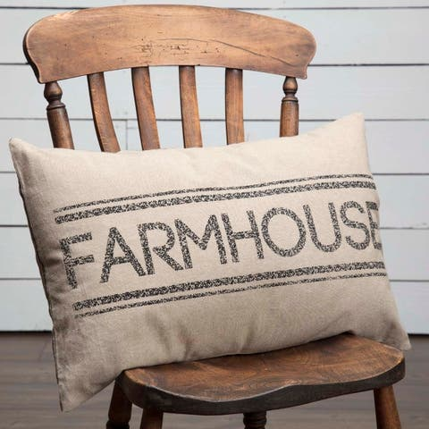 Farmhouse Bedding VHC Sawyer Mill 14x22 Pillow Cotton Text Stenciled Chambray (Pillow Cover, Pillow Insert)