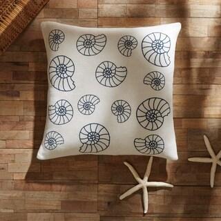 White Coastal Decor VHC Seashell Enchantment Pillow Cover Cotton Nautical Stenciled Textured