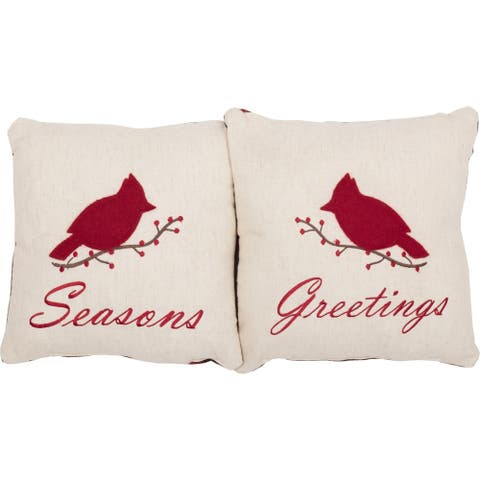 Red Farmhouse Holiday Decor VHC Seasons Greetings 10x10 Pillow Set of 2 Cotton Nature Print Appliqued Flax