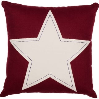 "Red and White Star Applique 18"" x 18"" Pillow"