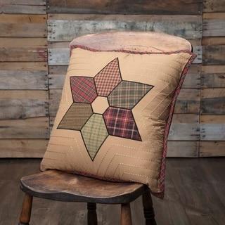 Tan Primitive Bedding VHC Tea Star 18x18 Pillow Cotton Star Appliqued (Pillow Cover, Pillow Insert)