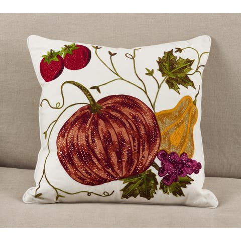 Embroidered Pumpkin Harvest Cotton Down Filled Throw Pillow
