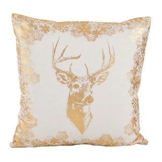 Metallic Foil Reindeer Design Accent Cotton Down Filled Throw Pillow