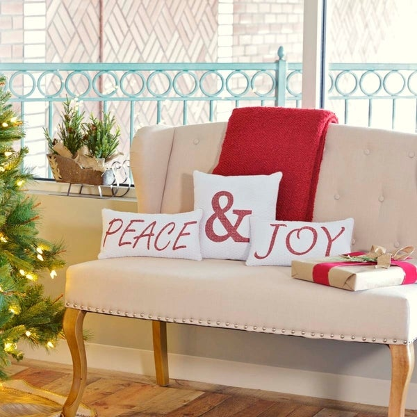 Vintage Stripe Peace & Joy Pillow Set