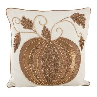 Beaded Thanksgiving Pumpkin Design Accent Throw Pillow