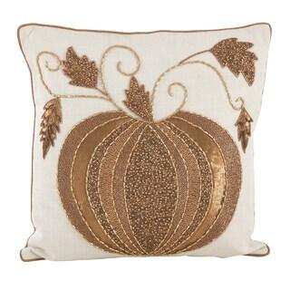 Beaded Thanksgiving Pumpkin Design Accent Throw Pillow