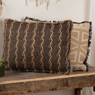Brown Bohemian Decor VHC Tatum Striped 14x18 Pillow Cotton Textured