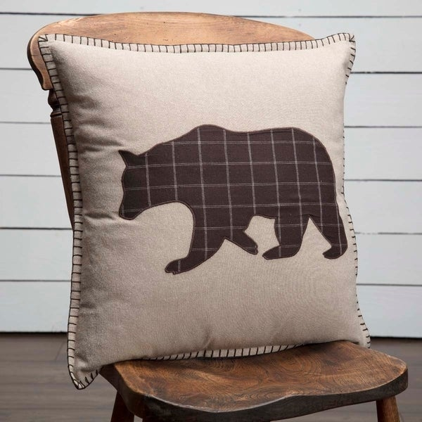 Tan Rustic Bedding VHC Wyatt Bear 18x18 Pillow Cotton Nature Print Appliqued Chambray (Pillow Cover, Pillow Insert)