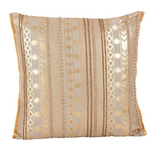 Beaded Aztec Design Accent Cotton Down Filled Throw Pillow