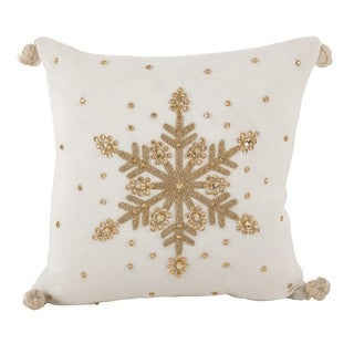 Jeweled Snowflake Design Pom Pom Accent Down Filled Throw Pillow