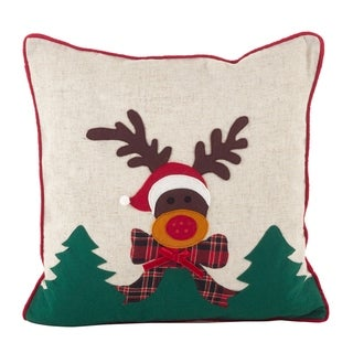 Christmas Reindeer Applique Design Accent Poly Filled Throw Pillow
