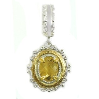 Michael Valitutti Palladium Silver Citrine Drop Charm