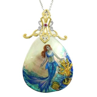 Michael Valitutti Palladium Silver Hand-Painted Mother-of-Pearl & Ruby Mermaid Pendant