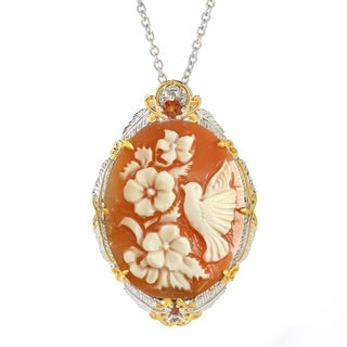 Michael Valitutti Palladium Silver Carved Shell Bird and Flower Cameo & Citrine Pendant