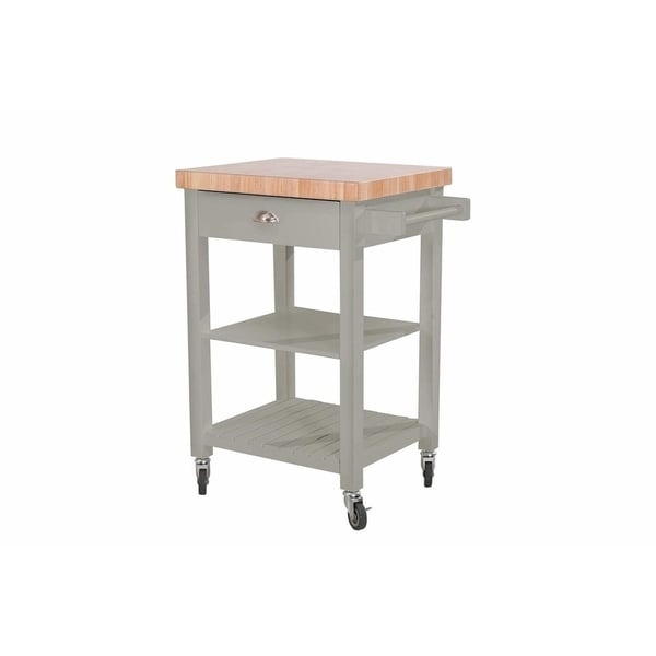 Sunjoy Collection Bedford White Kitchen Cart