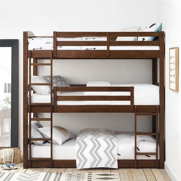 Shop Avenue Greene Nola Mocha Triple Floor Bunk Bed Free Shipping