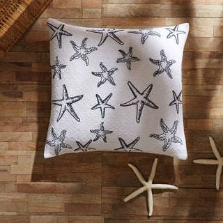 White Coastal Decor VHC Day at the Beach Pillow Cover Cotton Graphic-Print Stenciled Textured